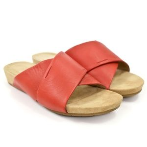 Eileen Fisher Red Lory Criss-Cross Leather Slides